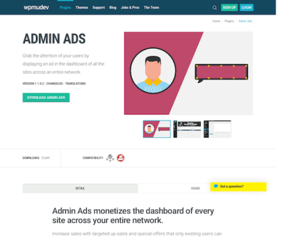 WPMU DEV: Admin Ads WordPress Plugin