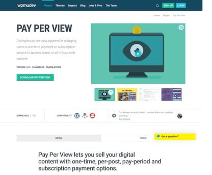 WPMU DEV: Pay Per View WordPress Plugin