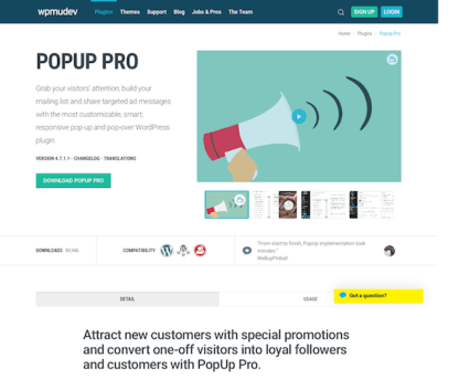 WPMU DEV: PopUp pro WordPress Plugin