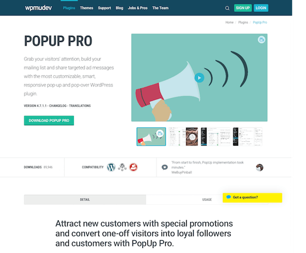 WPMU DEV: PopUp pro WordPress Plugin