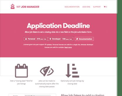 WP Job Manager Add-On: Application Deadline