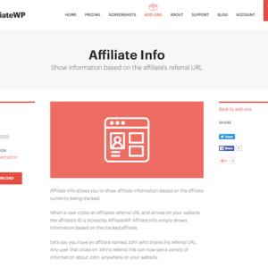 AffiliateWP: Affiliate Info