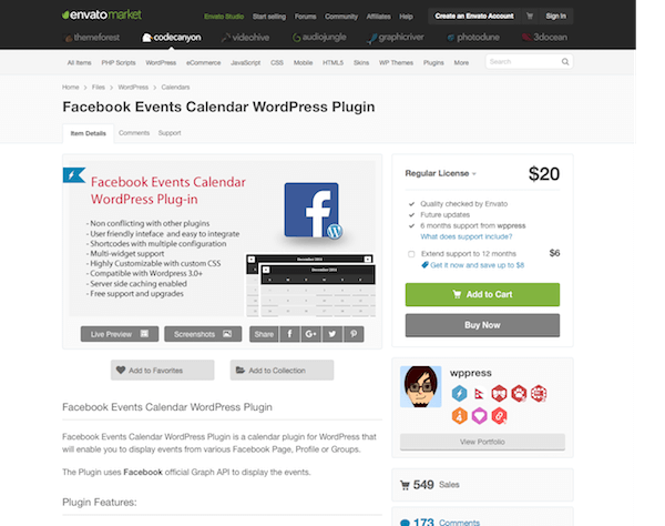 Codecanyon: Facebook Events Calendar WordPress Plugin