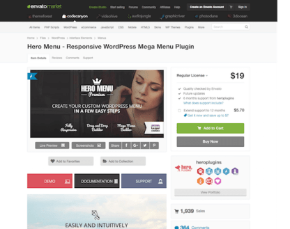Codecanyon: Hero Menu Responsive WordPress Mega Menu Plugin