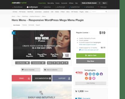 Codecanyon: Hero Menu Responsive WordPress Mega Menu Plugin