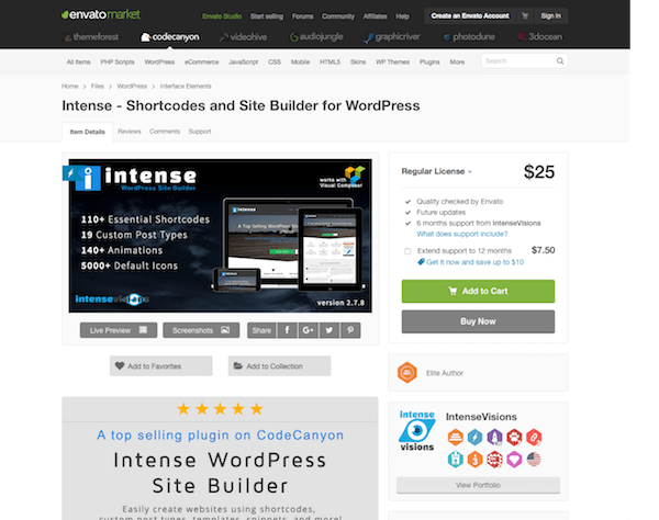 Codecanyon: Intense - Shortcodes and Site Builder for WordPress - Mvkoen