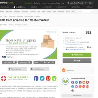 Codecanyon: WooCommerce Table Rate Shipping