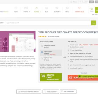 YITH WooCommerce: Product Size Charts for WooCommerce Premium