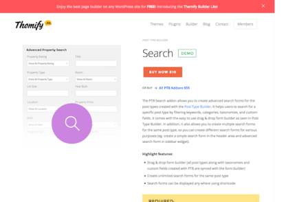 Themify Post Type Builder Search Addon