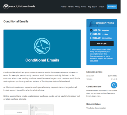 Easy Digital Downloads: Conditional Emails