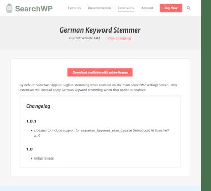 SearchWP: German Stemmer