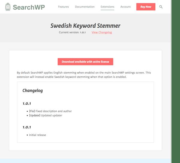 SearchWP: Swedish Stemmer