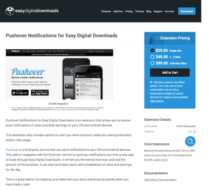 Easy Digital Downloads: Pushover Notifications for EDD