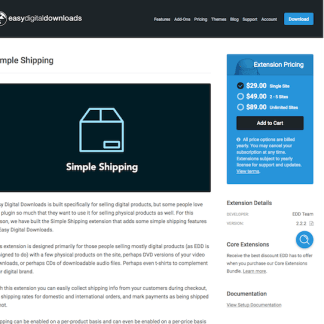 Easy Digital Downloads: Simple Shipping