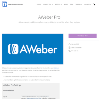 Restric Content Pro: AWeber Pro