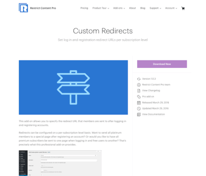 Restric Content Pro: Custom Redirects