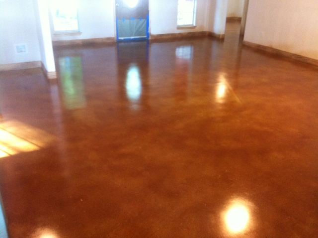 Stained concrete bedroom