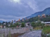 Mestia Watchtowers at Dusk