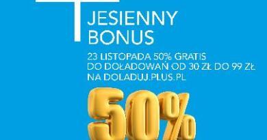 Jesienny bonus za doładowanie w Plusie i Plushu – do zgarnięcia 50% wartości doładowania