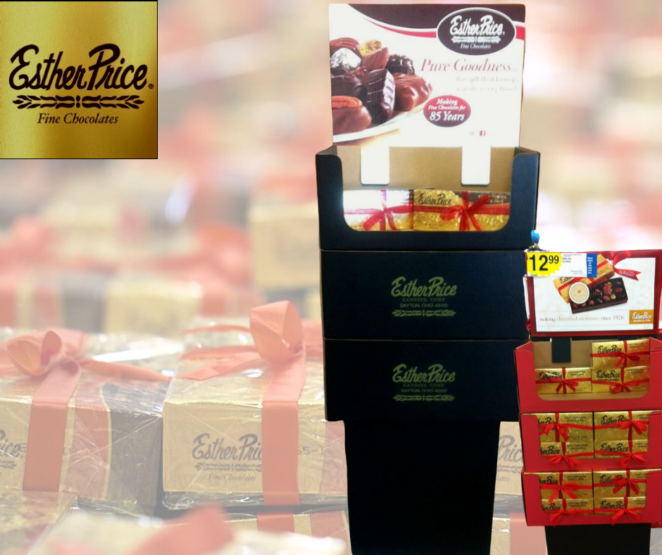 custom product display for Esther Price Candies