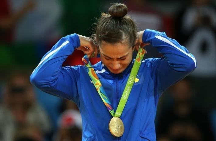 2016 Rio Olympics - Judo - Victory Ceremony - Women -52 kg Victory Ceremony - Carioca Arena 2 - Rio de Janeiro, Brazil - 07/08/2016. Majlinda Kelmendi (KOS) of Kosovo reacts. REUTERS/Toru Hanai