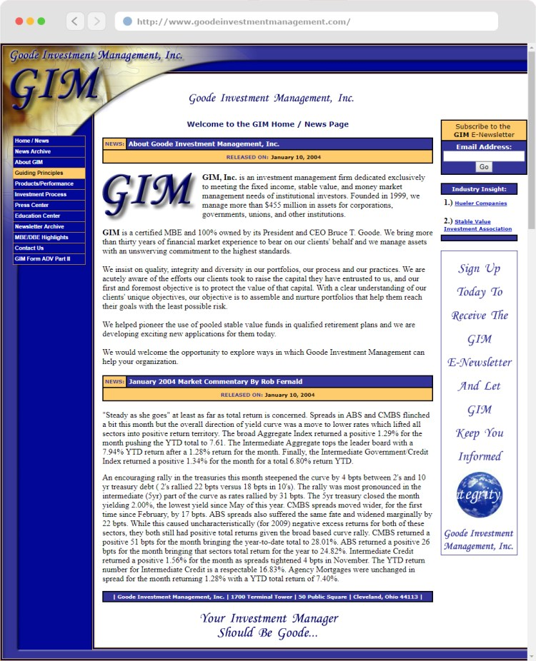 Goode Investment Management, Inc. website (#1) completed circa 2004.