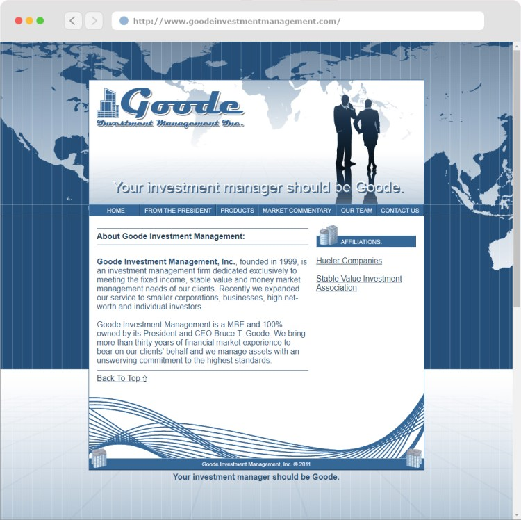 Goode Investment Management, Inc. Website Design (#2) completed circa 2011.