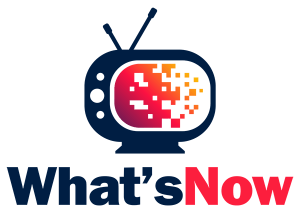 What's Now logo. A small retro looking television shows information on its screen disappearing byte by byte.