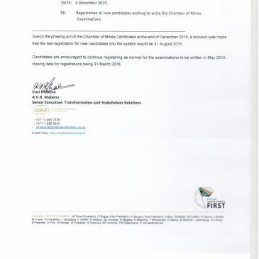 Memorandum – Registration of new candidates wishing to write the Chamber of Mines Examinations