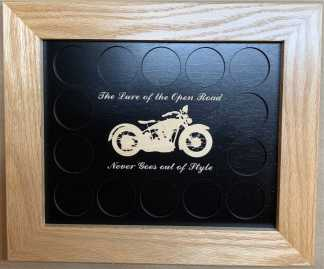 8x10 Poker Chip Display with Oak Frame Black Lure of the Open Road