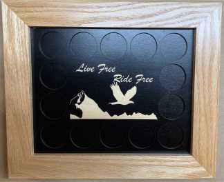 8x10 Poker Chip Display with Oak Frame Live Free Ride Free