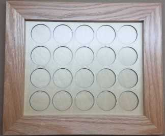 8x10 Poker Chip Display with Oak Frame Natural All Chips 20
