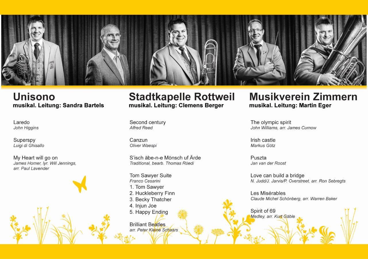 Konzertprogramm für das Frühjahrskonzert 2014
