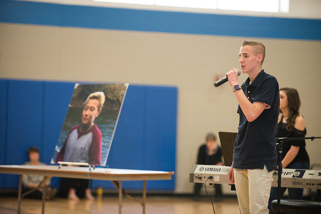 MWAH! troupe member Luke Kaminski speaks about the cyberbullying-related suicide of 11-year-old Tysen Benz (photo shown) during a troupe presentation at Walcott Intermediate School in Walcott, Iowa on May 8, 2017.(photo by Stephanie Willcox)
