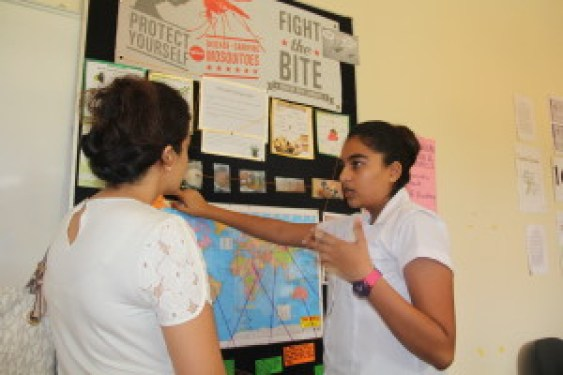 Imaan Vaiani presenting her project during the exhibitions. Photo: Aga Khan Academy Mombasa.