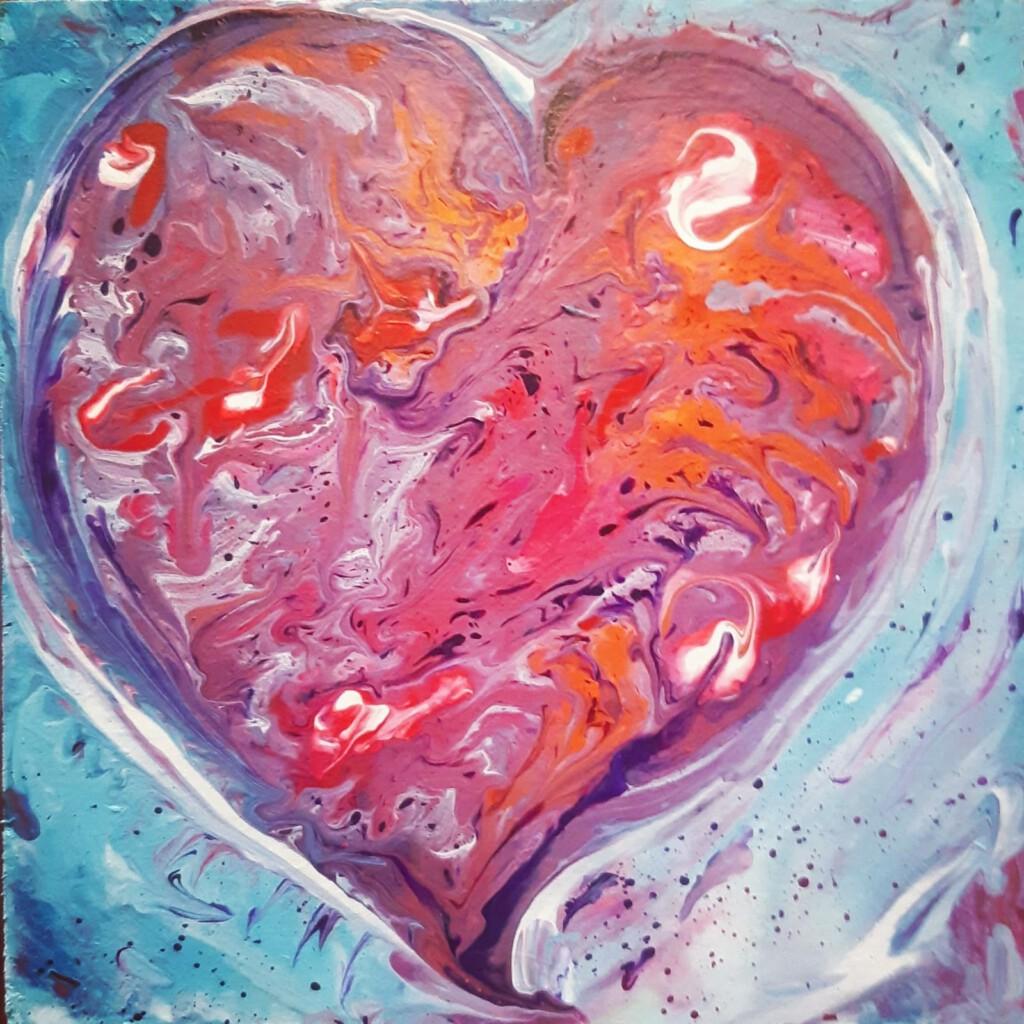 Hart rozeblauw - 20 x 20 cm  -  € 45