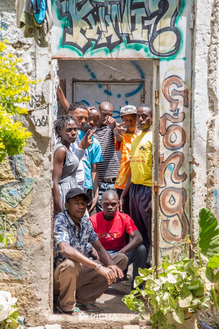 Members of Wasafi Organisation at their Ukoo Flani base in Dandora.