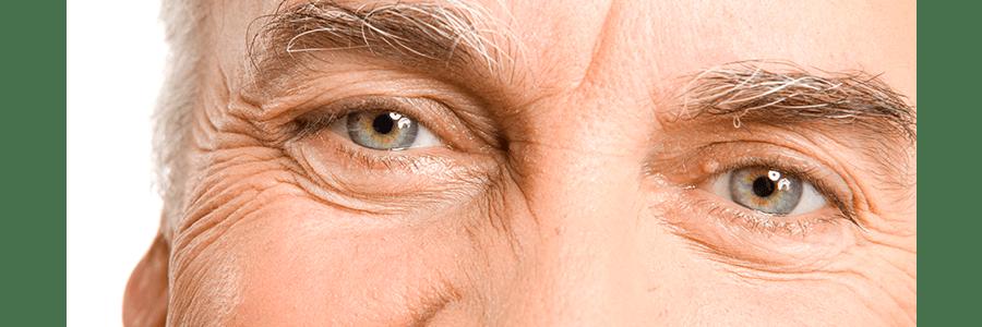 closeup of elderly man's eyes