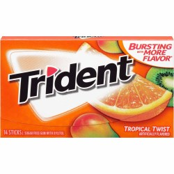 TRIDENT SUGAR FREE TROPICAL TWIST GUM 14 PC