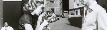 "eternally-grace: Grace and James Stewart behind the scenes of ""Rear Window"" – 1954."
