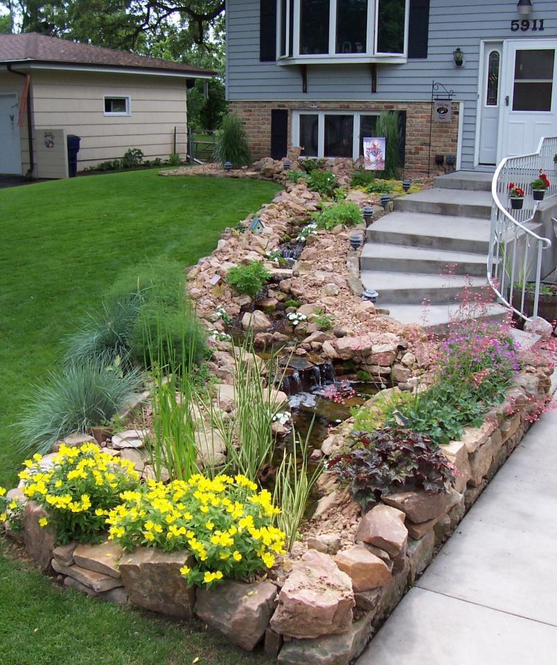front yard stream and garden