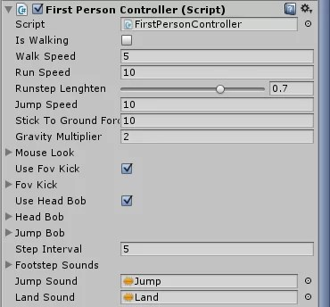 FPS Controller z obiektu First Person Controller w Unity3d 5