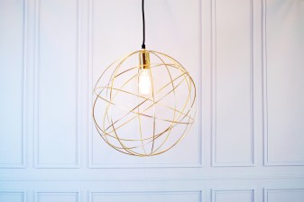 Gold globe orb light scandi simple background £199.95 www.madewithlovedesigns.co.uk