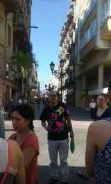 Rudi - our guide looking down Paseo del Conde walking street