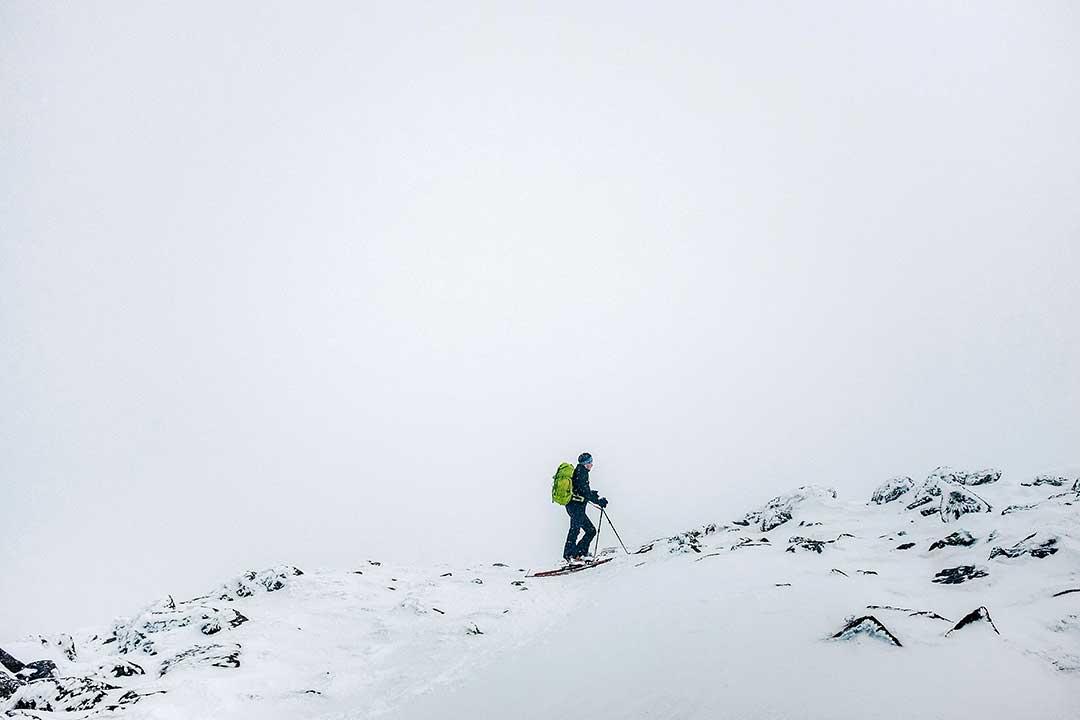 backcountry skier on Mount Washington