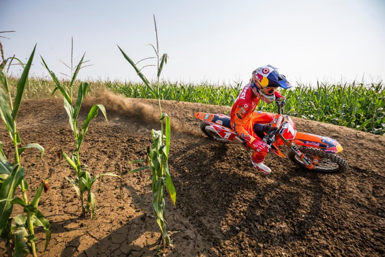 "Ryan Dungey navigates a corner in the middle of a cornfield during filming of ""Homegrown."""