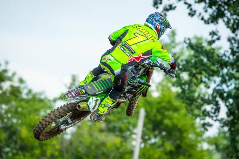 The defending champion Eli Tomac captured his sixth overall (1-1) of the season and took possession of the red plate.