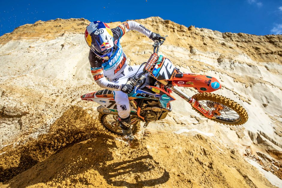 Liam Everts training on a motocross track in Gistoux, Belgium on March 20, 2021