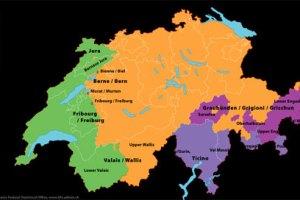 Schweiz: Det grønne område er fransksproget, det orange er tysk - de lillafarverede områder er de italienske og rætoromanske. (Kort: Swiss Federal Statistical Office).