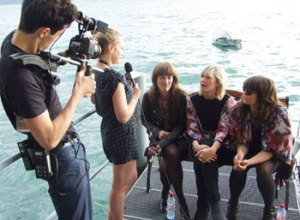 Giana Factory - interviewes af Montreux Festivals tv-hold ved Geneve-søens bred.